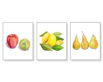 Fruit Art Fruit Print Fruit Painting Fruit Watercolor Print Fruit Watercolor Art Kitchen Art Kitchen Print Apples Lemons Pears Set Of 3.