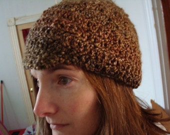 Brown Tweed Crocheted Soft Acrylic Bill Hat for Teens or Adults - 56B