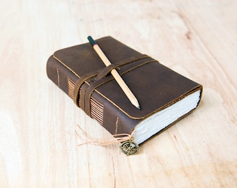 Leather journal with pocket, Travel Journal, Leather sketchbook, Men Journal