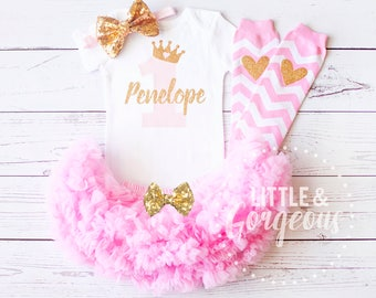 First Birthday Outfit, 1st Birthday Outfit Girl, Personalized First Birthday Onesie, One Birthday, Girls Gold Pink Princess Outfit,