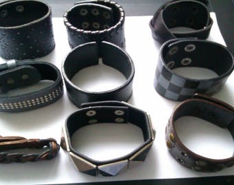 collection of 9 leather bracelets
