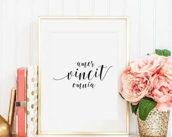 AMOR VINCIT OMNIA, Love Conquers All, Italiano Quote,Calligraphy Print,Hand Lettering,Latino Art,Latino Print,Latin Quote,Motivational Art