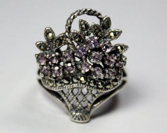 Vintage Sterling Silver Marcasite Amethyst Flower Basket Style Ring Band Size 7