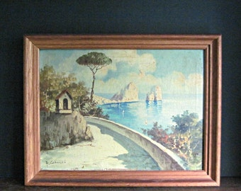 Vintage Oil Painting, Mediterranean Paiting, Seascape, Rustic Countryside, Italy Painting, Vintage Art, Vintage Wall Art, Colucci