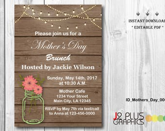 INSTANT DOWNLOAD Mothers Day Brunch Invitation Printable, Floral Mothers Day Invitation Instant Download, Tea Party Invites DIY Editable pdf