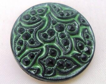 Czech Glass Button 22mm - hand painted - black, green (B23250)