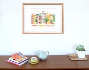 Amsterdam Canal barcos Art Print, horizonte holandés, cartel urbano Ilustración, para los niños, habitación niños, sala de estar y vivero