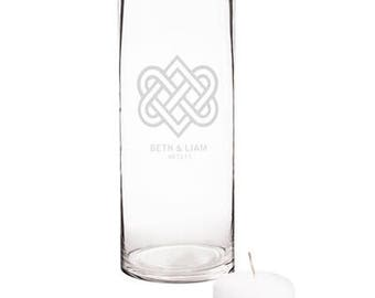 Personalized Glass Celtic Wedding Floating Candle Centerpieces Unity Candle
