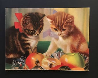 Vtg Art Print Kittens with Bees and Fruit
