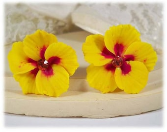 Yellow Hibiscus Earrings Stud or Clip On - Hibiscus Jewelry