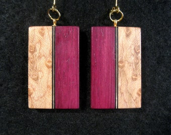 Purpleheart and Birdseye Maple Laminated Earrings