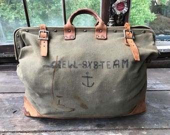 Vintage Canvas and Leather Bag