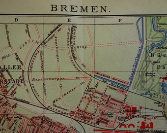 Antique bremen map Etsy