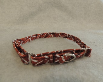 """XX Small or X Small Martingale Dog Collar 1/2"""" Wide  Football"""
