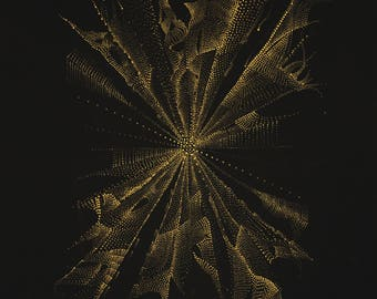 Flame Meditation - Metallic Gold Acrylic on Canvas - Gold Dot Painting by Milica ZZAA .:.
