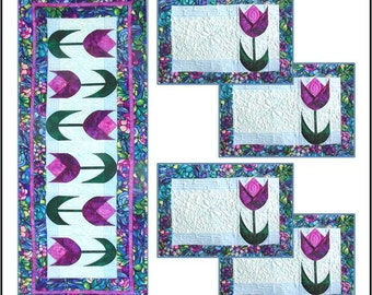 Spring Tulips Table Runner & Placemats PDF Quilt Pattern