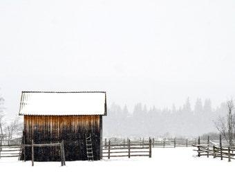 Old Barn Photo - Barn Digital Photo - Winter Wall Decor - Country Wall Decor - Farm - Winter Landscape - Digital Photo - Digital Download