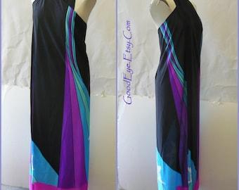 Vintage Maxie Wrap Dress Halter / size Small to Medium / BEACH to BAR Sarong Never Worn 1970s / Hawaii Malihini Resort black blue