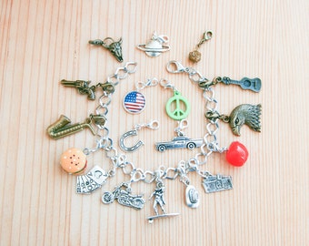 USA 18 charms bracelet chain gift idea fashion cute travel country geography culture