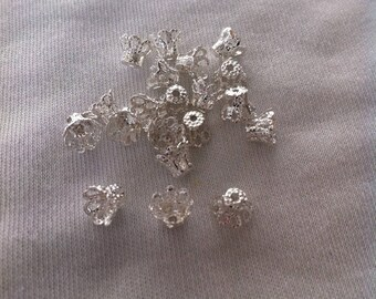 20 bead caps/basket size 6x5mm silver-plated caps