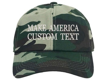 Custom Dad Hat Embroidered Dad Hat, MAKE AMERICA, Your text Here Personalized Custom Hat Personalized Baseball Cap,Choose Text, Camo Green