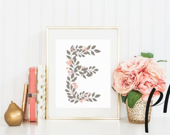 Grey Letter E, Monogram, Floral, Nursery, Printable Art, Art Print, Baby Initial, Nursery Art, Printable Letter E Monogram, Pink, Neutral