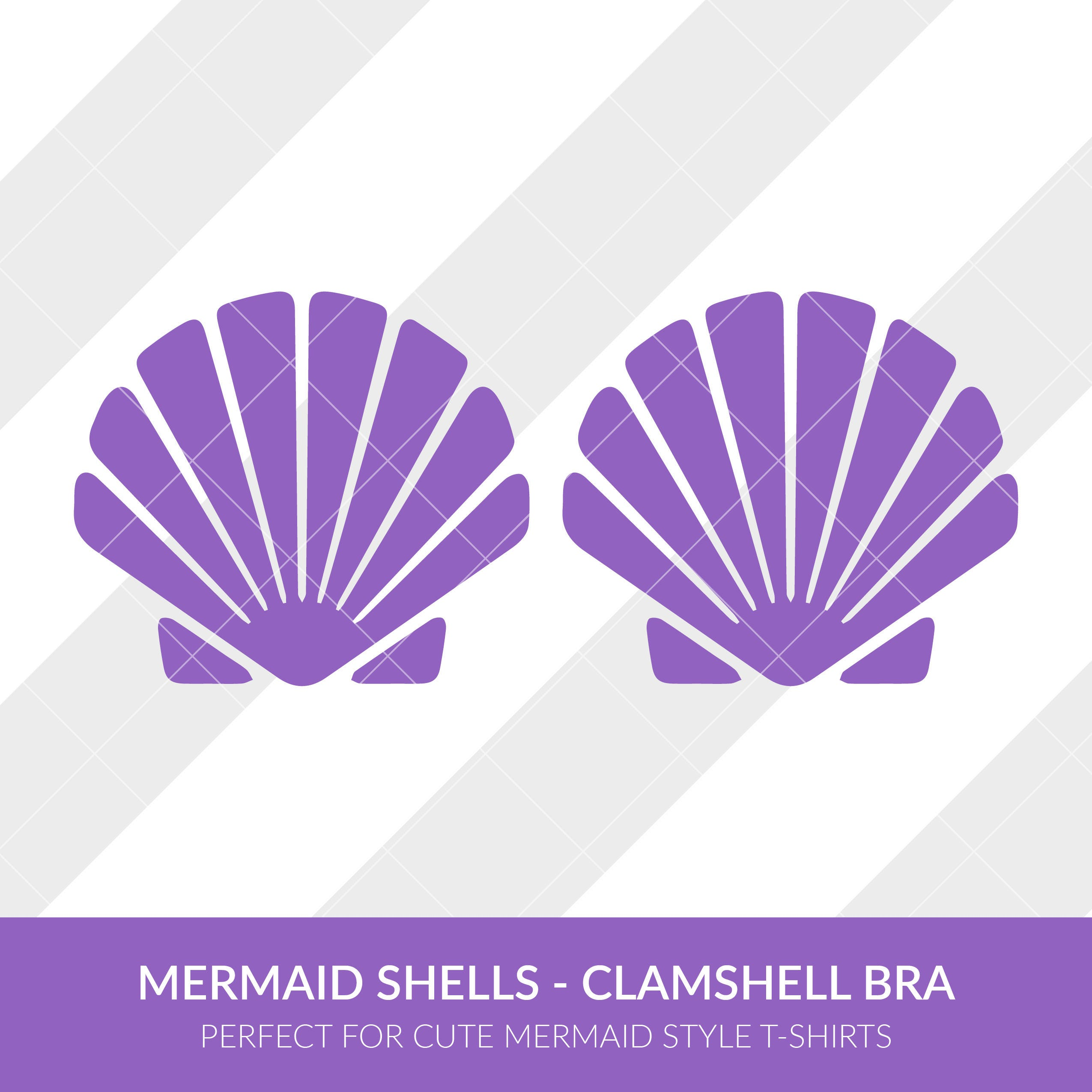 Mermaid Shells Clamshell Bra svg eps dxf studio3 png jpg