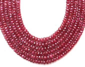 1 Strand AAA++ Quality  Natural Ruby Faceted Beads,All Natural Longido Ruby,Ruby Beads 3-5 MM, Ruby Gemstone,Rondelle Ruby, Wholesale Price