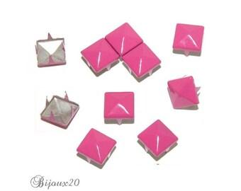 20 9mm pink FUCHSIA claw rivet customisation M00324 pyramid studs