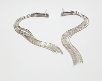 Earrings Silver Cat 9 Colas XL with Swarovskis Earrings cat of 9 tails in silver + Swarovski