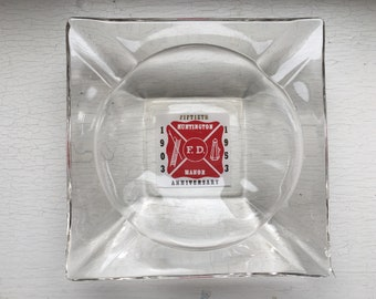 FDNY Cigar Ashtray Clear Glass Red Square Vintage 50's Advertising Memorabilia Huntington New York Fireman Fire Department FD Smoking Smoker
