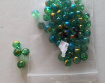 """Set of 50 """"green and blue/gold"""" beautifully colored glass beads"""
