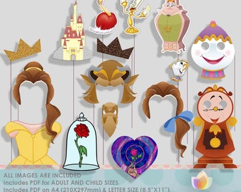 SALE!! Beautiful and Beast Party Photo Booth Props, Princess Party Photo Props