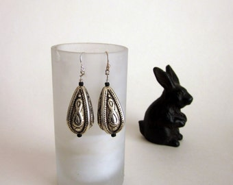 Pressed metal oval drop earrings/Sterling silver ear wires