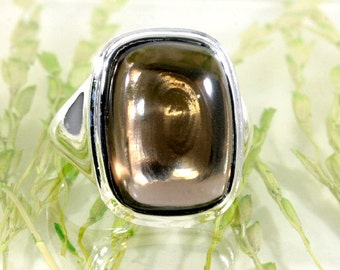 Smokey Topas and 925 Sterling Silver Ring  --   1458
