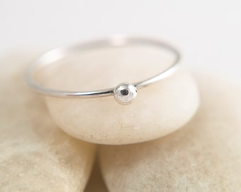 Silver solitaire ring - Sterling silver ring - silver stacking ring - skinny stacker