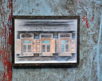 Russian decorative dacha window. Original Encaustic Photography. Rostov, Russia. Fine art wall decor. Rustic. Folk art.  Framed 5x7