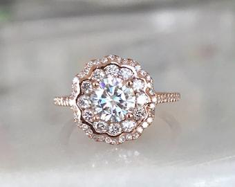Forever One Colorless Moissanite Engagement Ring Rose Gold Moissanite Ring Diamond Halo Engagement ring Diamond Engagement Ring -Mois1001