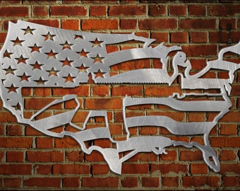Eagle American Flag Metal Art Made From Aluminum