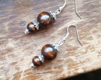 Wooden beads dangle earrings
