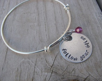 """Inspiration Bracelet- """"follow your bliss"""" with an accent bead of your choice"""