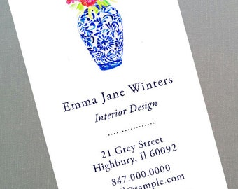 Blue and White Ginger Jar Calling Card  - Set of 50