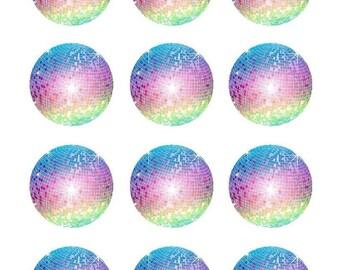 Disco Ball Edible Image Cupcake Cake Toppers Birthday Baking Supplies Jenuine Crafts
