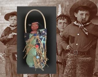 Vintage Native American Indian Skookum Papoose Doll in Original Box (Bully Good), Circa 1940s