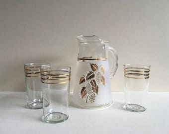 Vintage Tumblers and Pitcher.