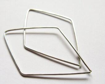 Simple Silver Hoop, Silver Diamond Hoop, Sterling Silver Hoop, Modern, Contemporary Earrings