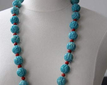 Teal and Red Beaded Necklace