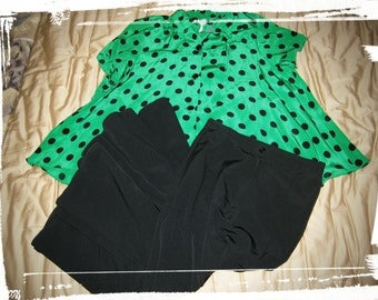 """VINTAGE 1970s OOAK Retro L.T.D by Roberta """"Naughty Sexy Librarian"""" Green & Black Polka Dot Blouse Flare Bottom Pencil Skirt Designer Outfit"""