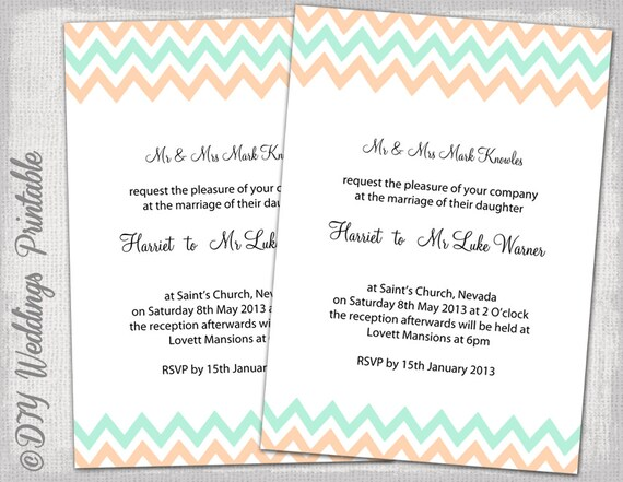 Wedding invitation template mint and peach chevron wedding invitation template mint and peach chevron diy wedding invitations peachmint green wedding invitation templates you edit download stopboris Gallery