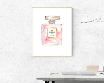 Chanel Perfume Print, Chanel Printable, Watercolor Chanel Perfume, Chanel No 5 Print, Fashion Illustration Print, Chanel Poster, Printable